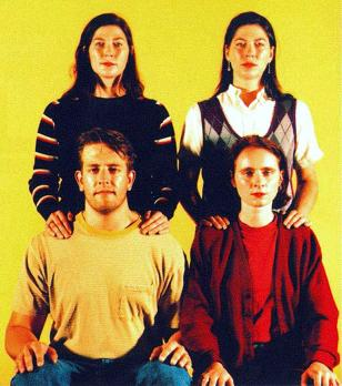 "The ""classic"" lineup. Front: Jim McPherson and Josephine Wiggs. Back: Kelley and Kim Deal."